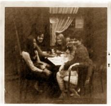 Susan Brainard (center) Coffee with friends in Cafe de Flore 1966